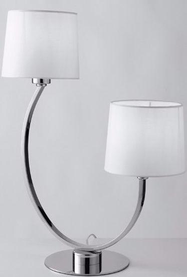 ABAT JOUR LAMPADA DA TAVOLO DUE LUCI PER SOGGIORNO CROMO PARALUME BIANCO