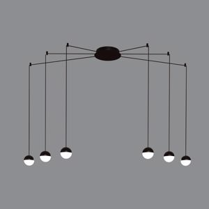 LAMPADARI MODERNI 6 LUCI SFERE METALLO NERO LED 30W 3000K FILI SOSPESI