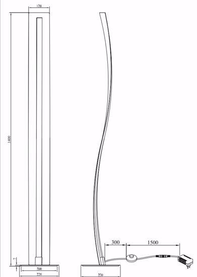 PIANTANA ONDULATA NERA LED DIMMERABILE 31W 3000K DESIGN PER SALOTTO MODERNO