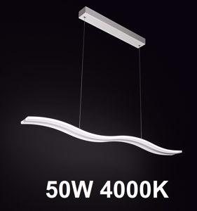 LAMPADARIO LED 50W 4000K METALLO BIANCO PER SOGGIORNO