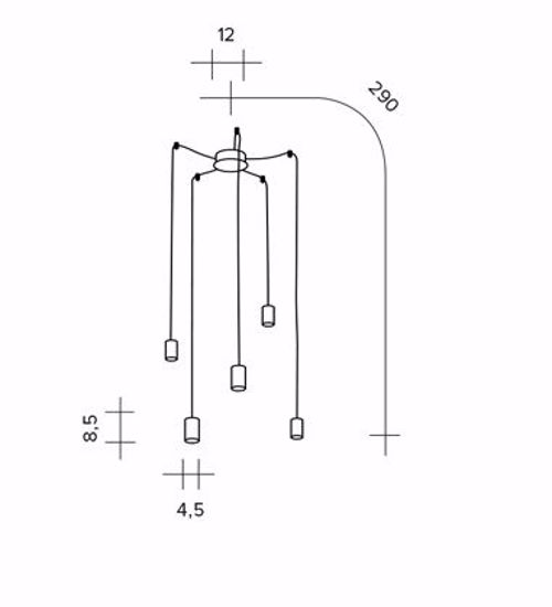 LAMPADARIO DESIGN MODERNO PER SALOTTO LED 4 LUCI NERO CAVO RAME SFORZIN DAMOCLE