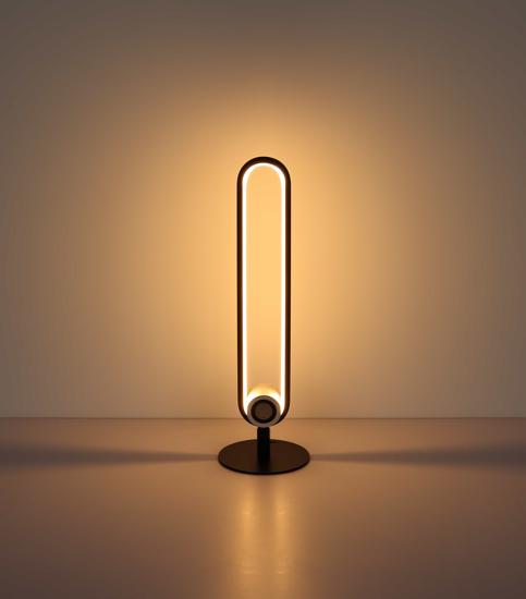 LAMPADA DA TAVOLO LED 3000K CON ALTOPARLANTE BLUETOOTH NERA DESIGN MODERNA
