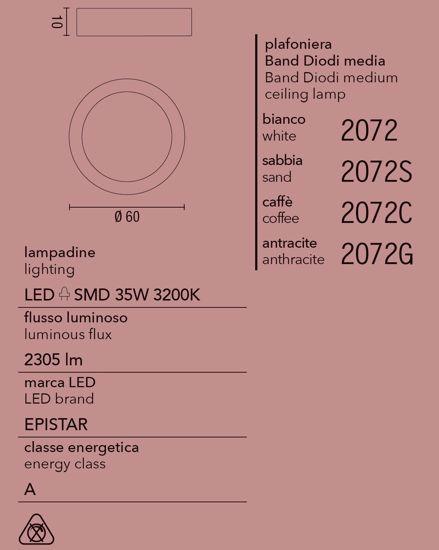 PLAFONIERA LED 35W 60CM CAFFE MARRONE AFFRALUX BAND DIODI