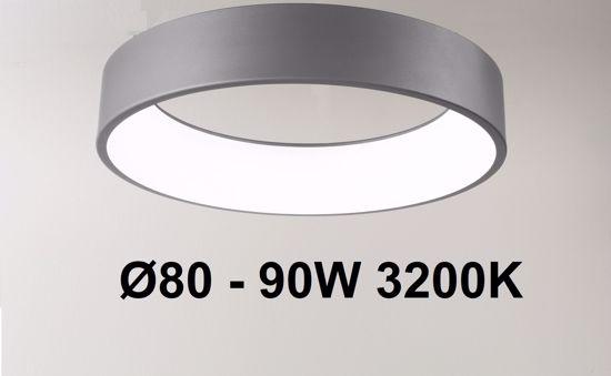 GRANDE PLAFONIERA LED 80CM METALLO ANTRACITE 90W 3200K AFFRALUX BAND DIODI