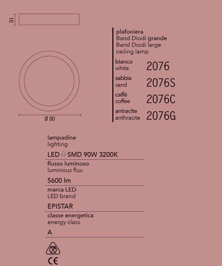 GRANDE PLAFONIERA LED 90W 3200K 80CM CAFFE'' MARRONE AFFRALUX BAND DIODI