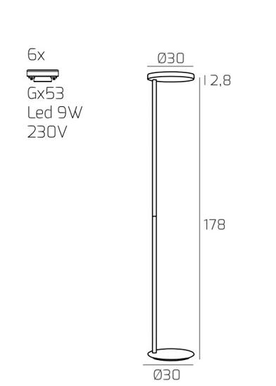 PIANTANA LAMPADA DA TERRA LUMINOSA GRIGIO 6 LAMPADINE GX53 LED MODERNA PROMOZIONE
