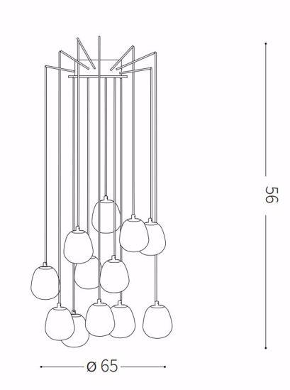 IDEAL LUX RHAPSODY SP12 LAMPADARIO MODERNO NERO ORO SFERE VETRO BIANCHE PER SALOTTO