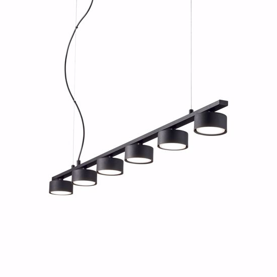 LAMPADARIO MODERNO METALLO BARRA MINOR SP6 NERO IDEAL LUX