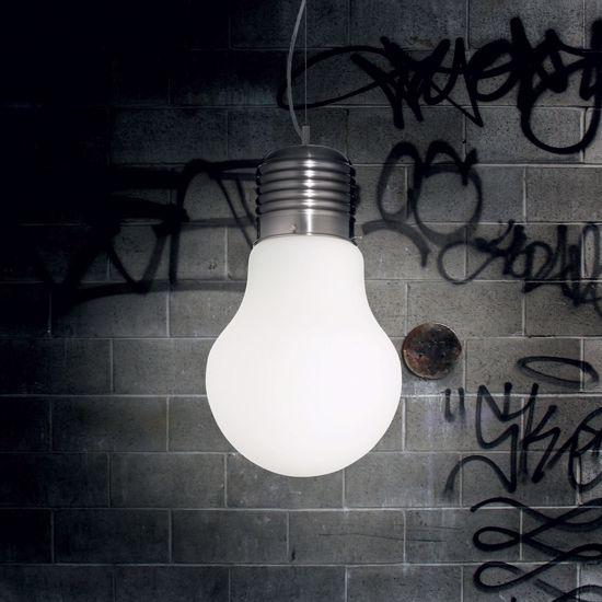 LAMPADARIO LAMPADINA GIGANTE PER CAMERETTA VETRO BIANCO