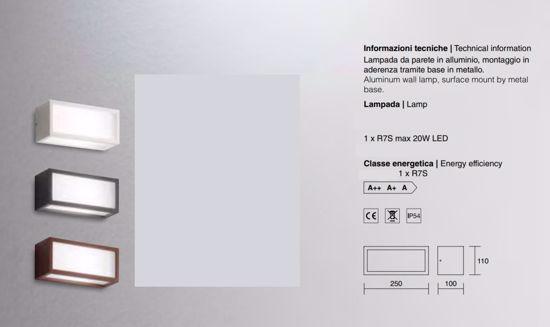 ISYLUCE APPLIQUE DA PARETE PER ESTERNO RETTANGOLARE LAMPADINA LED R7S IP54 CORTEN