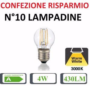CONFEZIONE RISPARMIO N10 LAMPADINE LED E27 4W 3000K 430LM SFERA PICCOLA TRASPARENTE