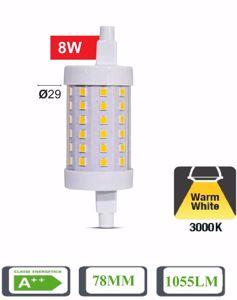 LAMPADINA R7S LED 8W 3000K 78MM 1055 LUMEN TUBOLARE 360 GRADI A++ LIFE