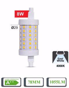 LAMPADINA R7S LED CORTA 8W 4000K 78MM TUBOLARE 1055LM A++ OTTICA 360