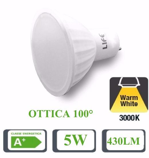 LIFE LAMPADINA LED GU10 5W 3000K 430LM OTTICA 100 GRADI 39.910204C5