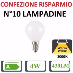 CONFEZIONE RISPARMIO N10 LAMPADINE E14 LED 4W 3000K 430LM SFERA BIANCA