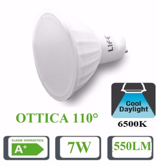 LIFE LAMPADINA LED GU10 BIANCA 7W 6500K 550LM OTTICA 110 39.910239F