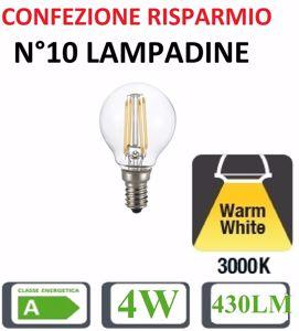 CONFEZIONE RISPARMIO N10 LAMPADINE E14 LED 4W 3000K 430LM SFERA TRASPARENTE