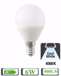 LIFE LAMPADINA LED E14 6W 4000K 500LM A+ MINISFERA BIANCA 39.920341N