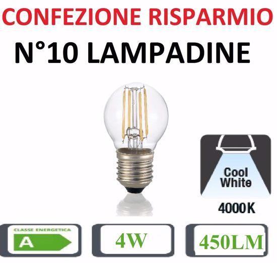 CONFEZIONE RISPARMIO N10 LAMPADINE LED E27 4W 4000K 450LM BULBO PICCOLO SFERA TRASPARENTE