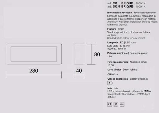 APPLIQUE DA ESTERNO LUCE FRONTALE LED 12W 4000K IP65 METALLO BIANCO