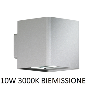 APPLIQUE DA ESTERNO CUBO LED 10W 3000K IP54 GRIGIO