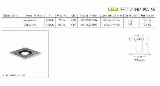 FARO SEGNAPASSO LED 1W 4000K IP67 DA INCASSO PAVIMENTO PER ESTERNO QUADRATO ALLUMINIO