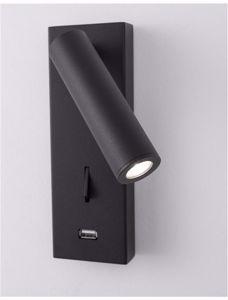 APPLIQUE LUCE ORIENTABILE A PARETE PER COMODINO CAMERA DA LETTO NERO LED USB