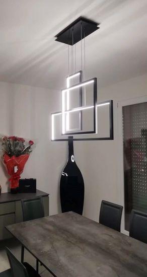 LAMPADARIO DESIGN MODERNO GEOMETRICO PER SOGGIORNO LED 90W 3000K NERO