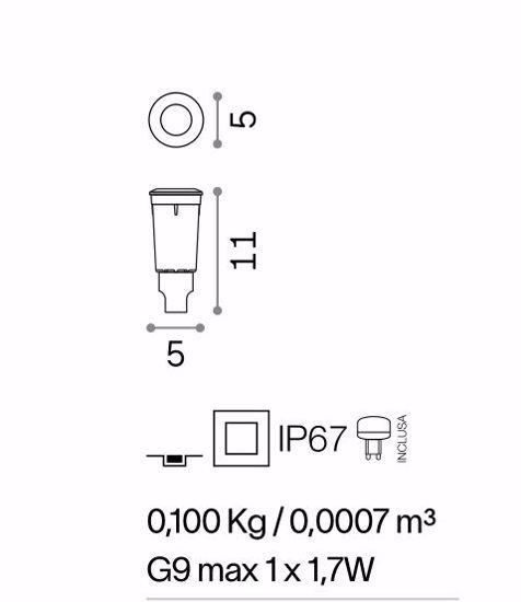 FARO INCASSO PAVIMENTO DA ESTERNO G9 LED 1,7W 4000K IP67 RESINA NERO