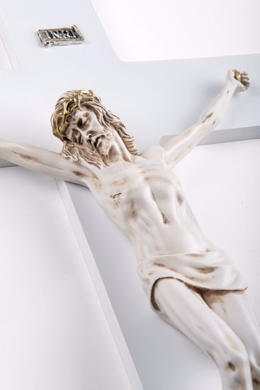 CROCIFISSO DA PARETE CLASSICO 34X24 CRISTO MARMORINO AVORIO CROCE BIANCA