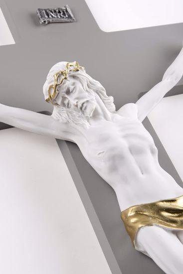 GRANDE CROCIFISSO DA PARETE 48X30 CROCE LEGNO ANTRACITE CRISTO MARMORINO BIANCO ORO