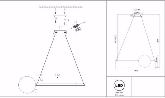 LAMPADARIO A SOSPENSIONE DESIGN MODERNO ORO SFERA BIANCA LED 30W 3000K