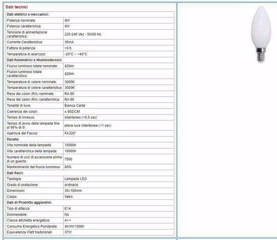 LAMPADADINA LED E14 4W 3000K CANDELA FILAMENT MILKY 39.920022CM3