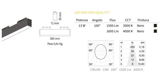 MODULO FARETTO LED 48V 13W 3000K NERO PER BINARIO MONOFASE OTTICA 100