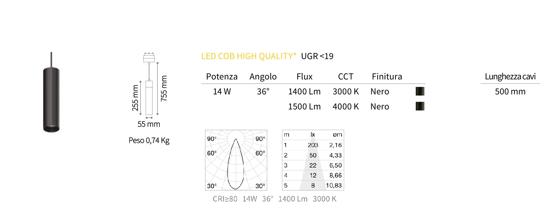 FARETTO A SOSPENSIONE LED 14W 4000K PER BINARIO MONOFASE 48V OTTICA 36