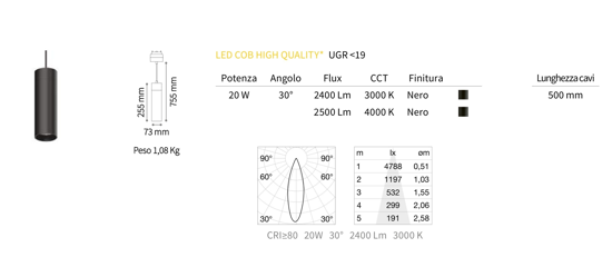 FARETTO A SOSPENSIONE PER BINARIO MONOFASE LED 20W 4000K 48V NERO OTTICA 30