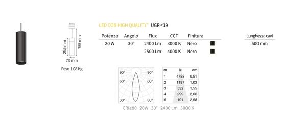 FARETTO A SOSPENSIONE LED 20W 3000K 48V OTTICA 30 PER BINARIO MONOFASE