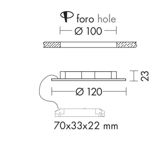 FARETTO LED 6W 3000K TONDO PLASTICA BIANCO 220V DA INCASSO PER CONTROSOFFITTO