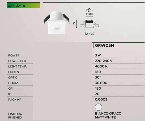 FARETTO INCASSO CONTROSOFITTI LED 3W 4000K BIANCO QUADRATO GEA LUCE