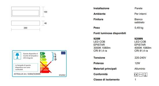 ISYLUCE APPLIQUE LED 12W 4000K RETTANGOLARE BIANCO DESIGN MODERNO