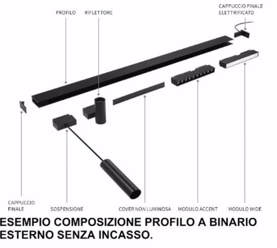 BINARIO PROFILO A PLAFONE 3MT MONOFASE NERO PER FARETTI LED