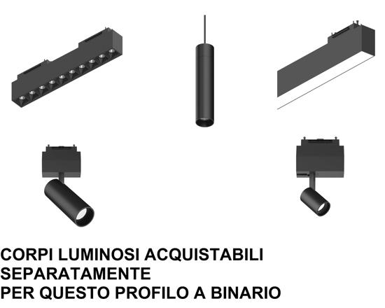 BINARIO DA INCASSO 3MT PROFILO NERO MONOFASE 48V PER FARETTI LED