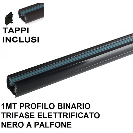 PROFILO BINARIO TRIFASE 1MT PER FARETTI LED ALLUMINIO NERO TAPPI INCLUSI