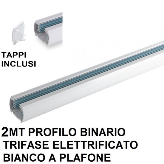 BINARIO PLAFONE TRIFASE 2MT BIANCO ELETTRIFICATO ALLUMINIO PER FARETTI LED