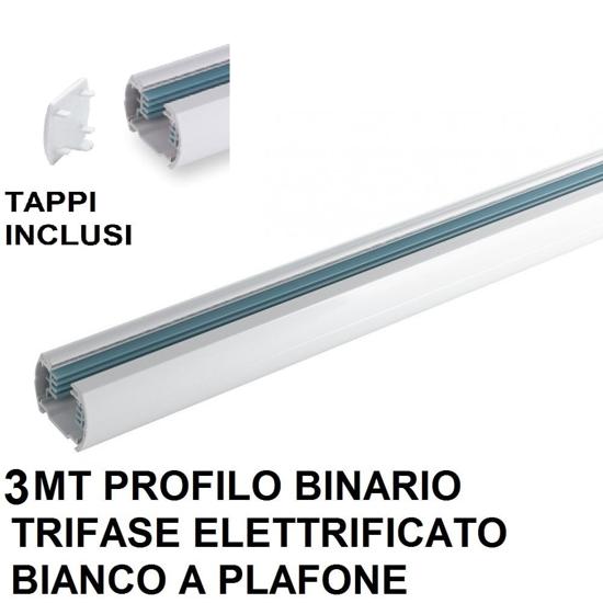 BINARIO TRIFASE 3MT PER FARETTI LED PROFILO ALLUMINIO BIANCO