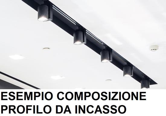 1MT BINARIO TRIFASE DA INCASSO ALLUMINIO BIANCO PER FARETTI LED