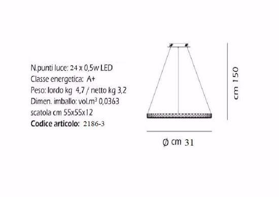 LAMPADARIO CRISTALLO NORA PICCOLA 31CM LED 12W 4000K CAMERA DA LETTO