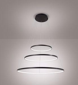 AFFRALUX ALURING NERO LAMPADARIO LED 71W 3000K TRE CERCHI DESIGN MODERNO