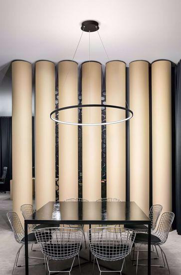 AFFRALUX LAMPADARIO ALURING LED 26W 3200K ROTONDO ANELLO NERO DESIGN MODERNO
