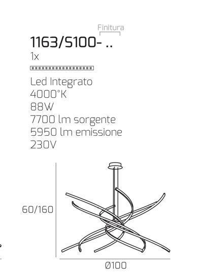 GRANDE LAMPADARIO MODERNO BIANCO LED 88W 4000K PER SALONE TORNADO TOPLIGHT